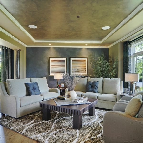 This living room project began with an Interior Design Consultation. The Design Plan included a natural Color Palette, furniture, rugs, artwork, window treatments & home accessories. All of the furnishings were selected by Dennis Frankowski and purchased for the customer. The coffee table and end tables were designed by Dennis Frankowski and hand crafted for the customer by a local furniture maker.