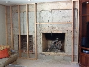 Fireplace Renovation Before Photo by Illinois Designer DF Design, Inc