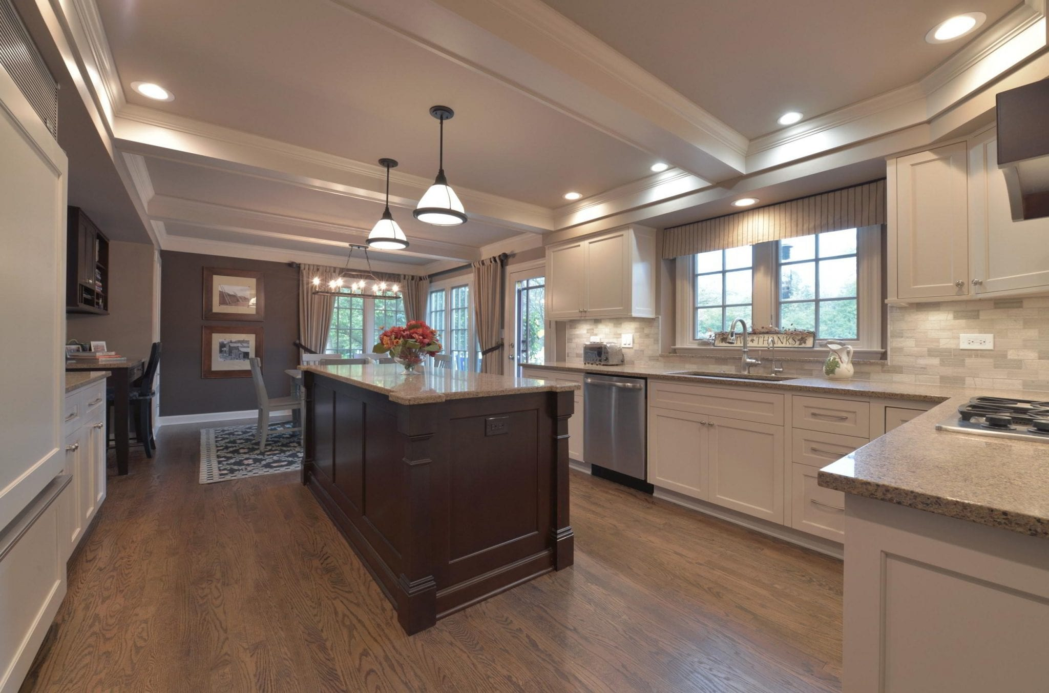 This traditional style kitchen was designed using the existing floor plan.