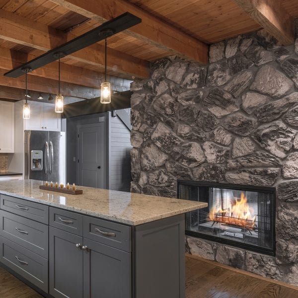 Rustic Kitchen Island Fireplace