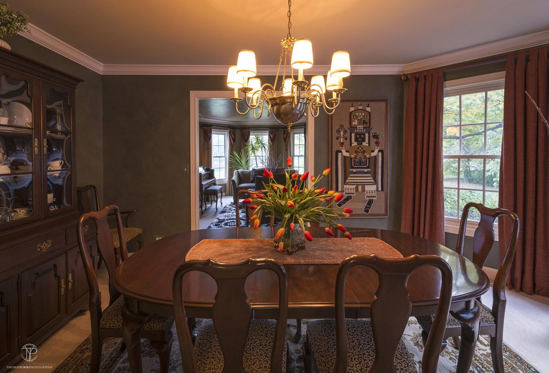Guests enjoy dining in this formal dining room.