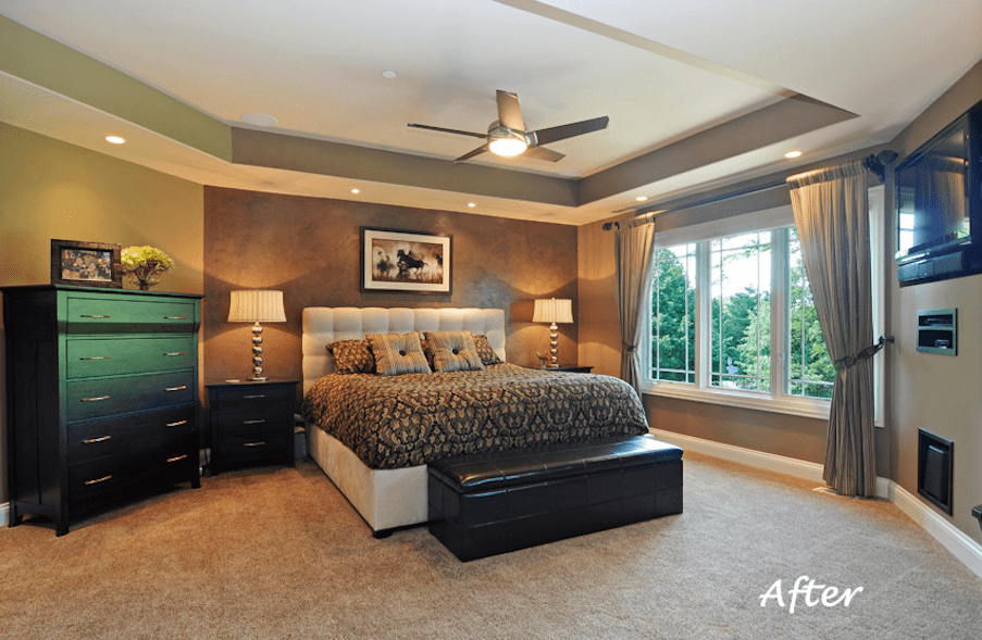 Long Grove Master Bedroom Paint Color Selection Before and After