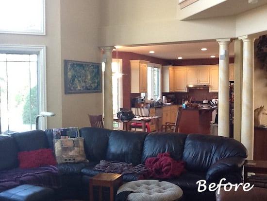 Family Room Window Treatments Furnishings Rugs Before